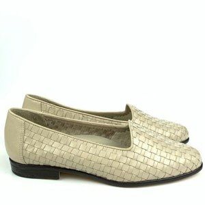 Vtg Trotters flats 6.5 W leather woven loafers 90s